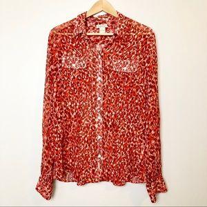 Lucky Brand Silk Sheer Leopard Print Blouse
